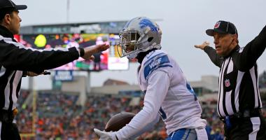 Dec 24, 2017; Cincinnati, OH, USA; Detroit Lions cornerback Darius Slay (23) reacts to officials as he is called out of bounds on an interception against the Cincinnati Bengals in the first half at Paul Brown Stadium