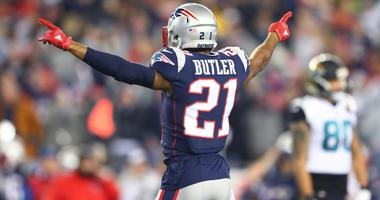 an 21, 2018; Foxborough, MA, USA; New England Patriots cornerback Malcolm Butler (21) celebrates against the Jacksonville Jaguars during the AFC Championship at Gillette Stadium.