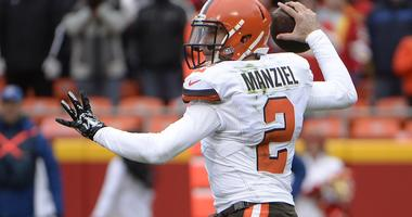 Dec 27, 2015; Kansas City, MO, USA; Cleveland Browns quarterback Johnny Manziel (2) throws a pass against the Kansas City Chiefs in the first half at Arrowhead Stadium