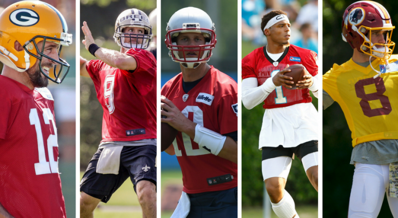 Aaron Rodgers, Drew Brees, Tom Brady, Cam Newton, and Kirk Cousins during training camp.