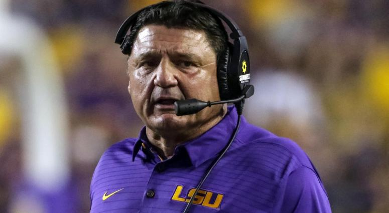 Sep 23, 2017; Baton Rouge, LA, USA; LSU Tigers head coach Ed Orgeron against the Syracuse Orange during the second quarter of a game at Tiger Stadium.
