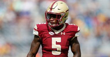 Sep 9, 2017; Chestnut Hill, MA, USA; Boston College Eagles defensive back Kamrin Moore (5) during the first half against the Wake Forest Demon Deacons at Alumni Stadium.