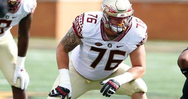 Sep 30, 2017; Winston-Salem, NC, USA; Florida State Seminoles offensive lineman Rick Leonard (76) lines up against the Wake Forest Demon Deacons at BB&T Field