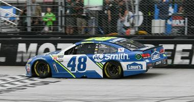 Apr 24, 2017; Bristol, TN, USA; NASCAR Cup Series driver Jimmie Johnson (48) wins the Food City 500 at Bristol Motor Speedway.