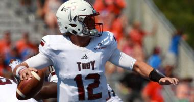 Sep 2, 2017; Boise, ID, USA; Troy Trojans quarterback Brandon Silvers (12) throws a pass during first half action against the Boise State Broncos at Albertsons Stadium.