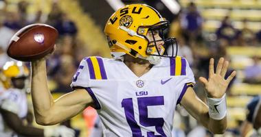 Sep 9, 2017; Baton Rouge, LA, USA; LSU Tigers quarterback Myles Brennan (15) throws a pass against the Chattanooga Mocs during the second half of a game at Tiger Stadium. LSU defeated Chattanooga 45-10.