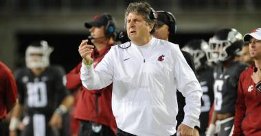 Sep 29, 2017; Pullman, WA, USA; Washington State Cougars head coach Mike Leach looks on against the USC Trojans during the second half at Martin Stadium. The Cougars won 30-27.