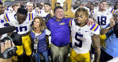 Oct 21, 2017; Oxford, MS, USA; LSU Tigers head coach Ed Orgeron celebrates with his players after a game against the Mississippi Rebels at Vaught-Hemingway Stadium