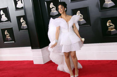 Cardi B arrives at the 60th Annual Grammy Awards at Madison Square Garden.