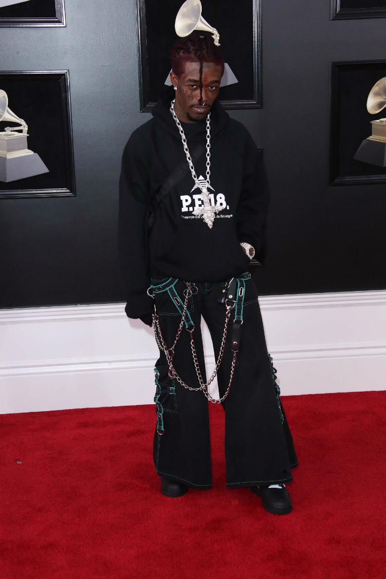 Lil Uzi Vert arrives at the 60th Annual Grammy Awards at Madison Square Garden.