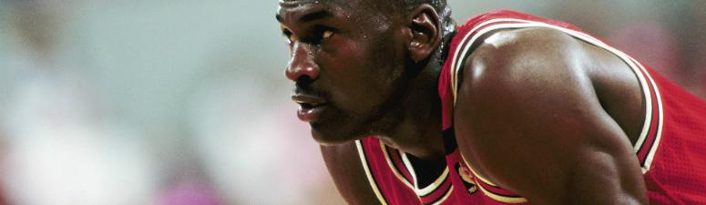 Michael Jordan (23) against the Portland Trail Blazers during the 1992 season at Memorial Coliseum.