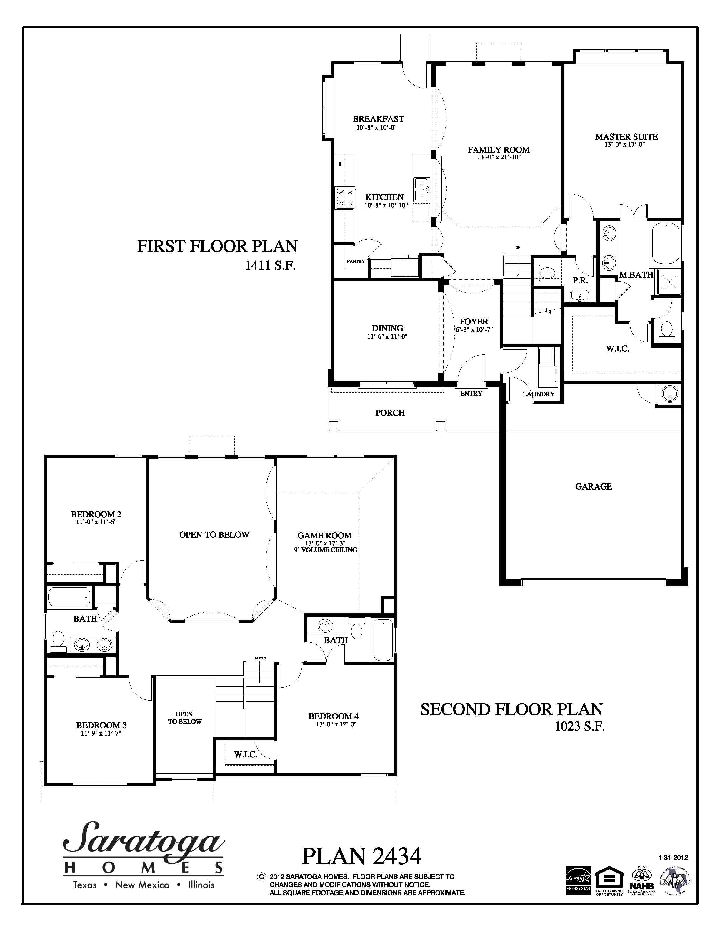 Plan 2434 saratoga homes houston for Floor plans for homes in texas