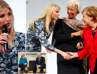 Ivanka代爸做形象~握手德国总理却挨轰做面子!