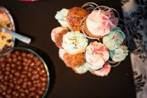 cupcakes on the snack table at a spa party