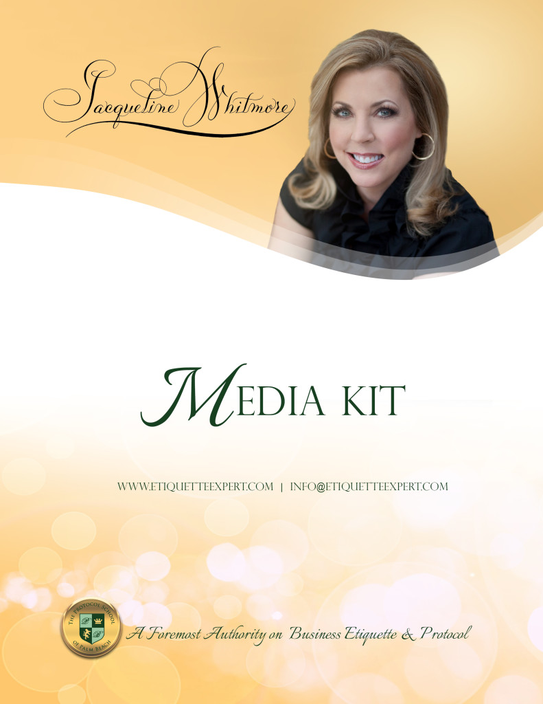 Media Kit Cover for Jacqueline Whitmore Etiquette Expert