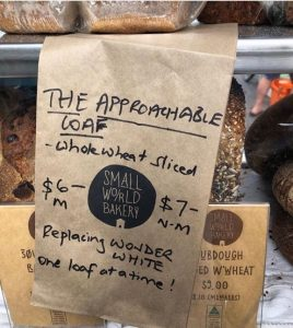 Brown paper bag describing The Approachable Loaf