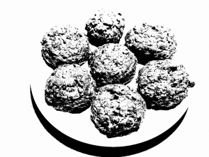 [Grainy black and white] 7 cookies on a plate