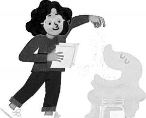 (Illustration) Dark-haired girl feeds flour to anthopomorphic sourdough starter.