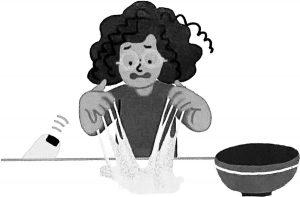 (Illustration) Dark-haired girl kneads sticky dough.