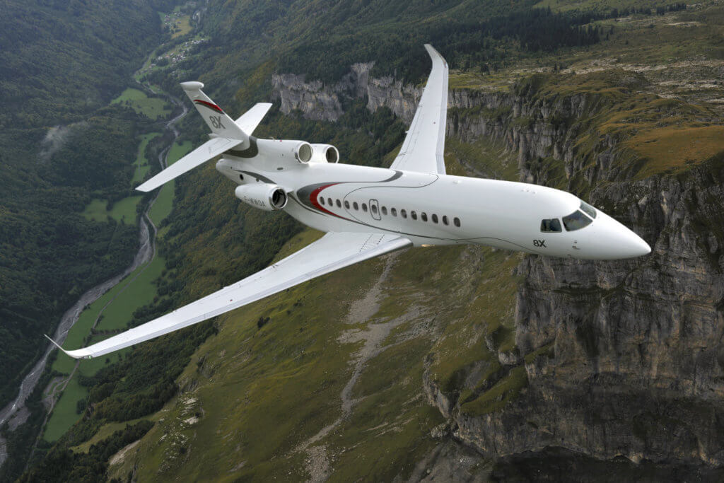 Dassault Aviation announced its new Falcon 8X ultra-long range trijet has received new type approvals are from Brazil and the United Arab Emirates. Dassault Aviation Photo