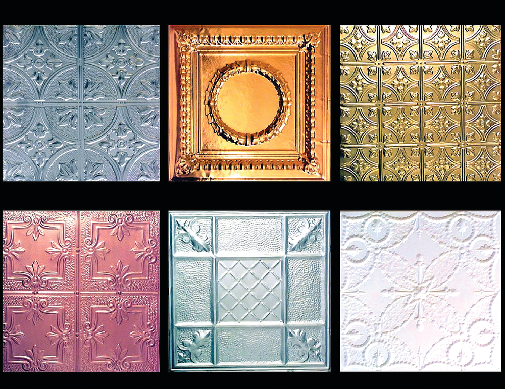 Stamped tin ceiling tiles