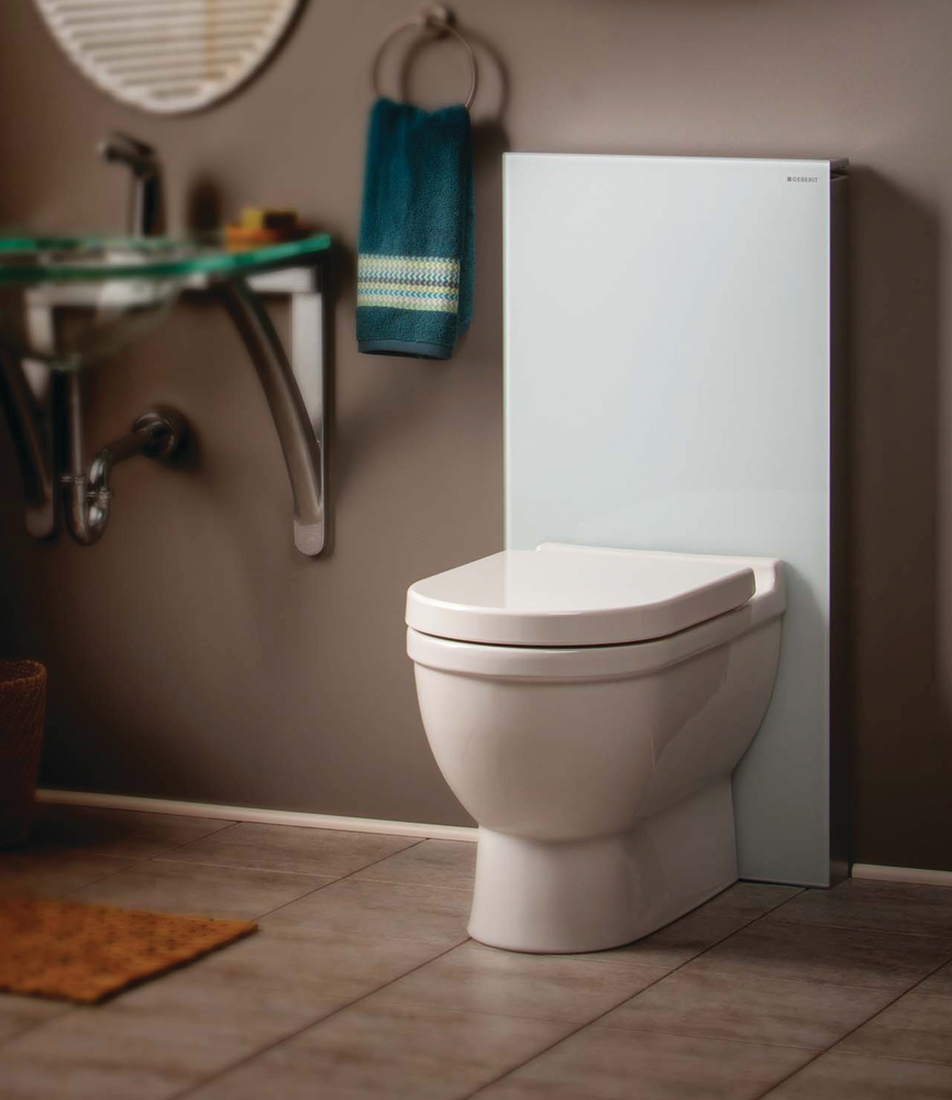 Monolith tank and carrier system for residential pros for Geberit toilet system