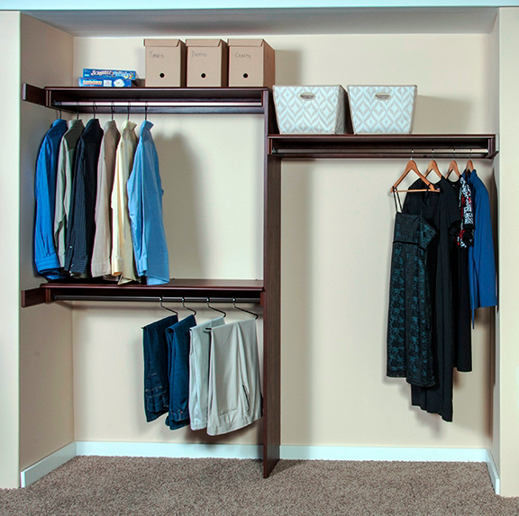 Woodtrac reach in wood based closet kit for residential pros for Woodtrac closets