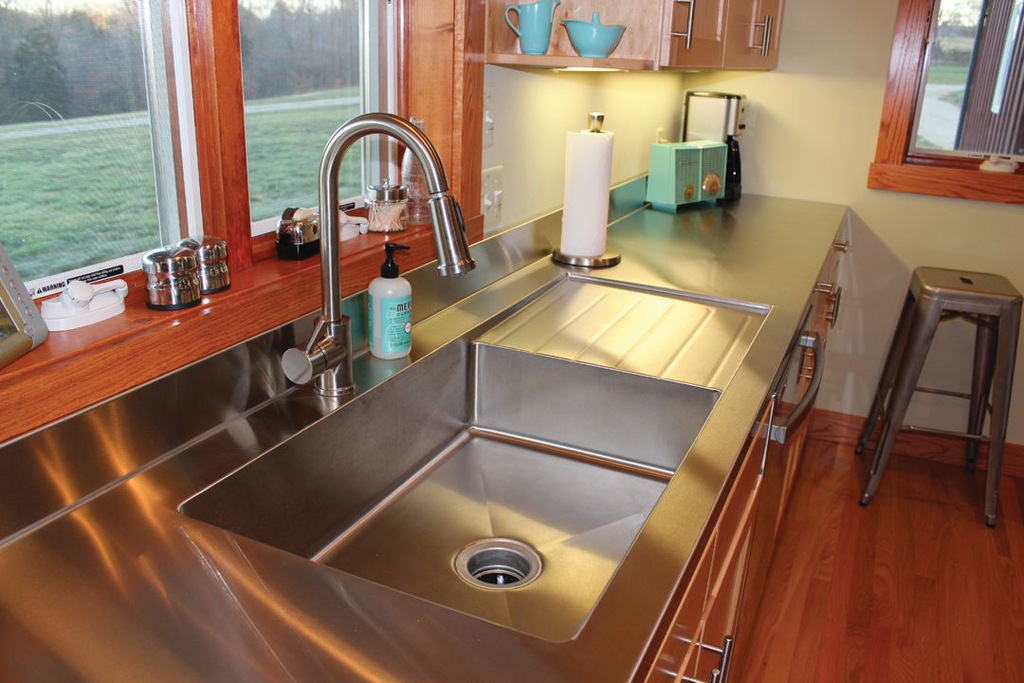 Custom countertops for residential pros for Stainless steel countertop with built in sink