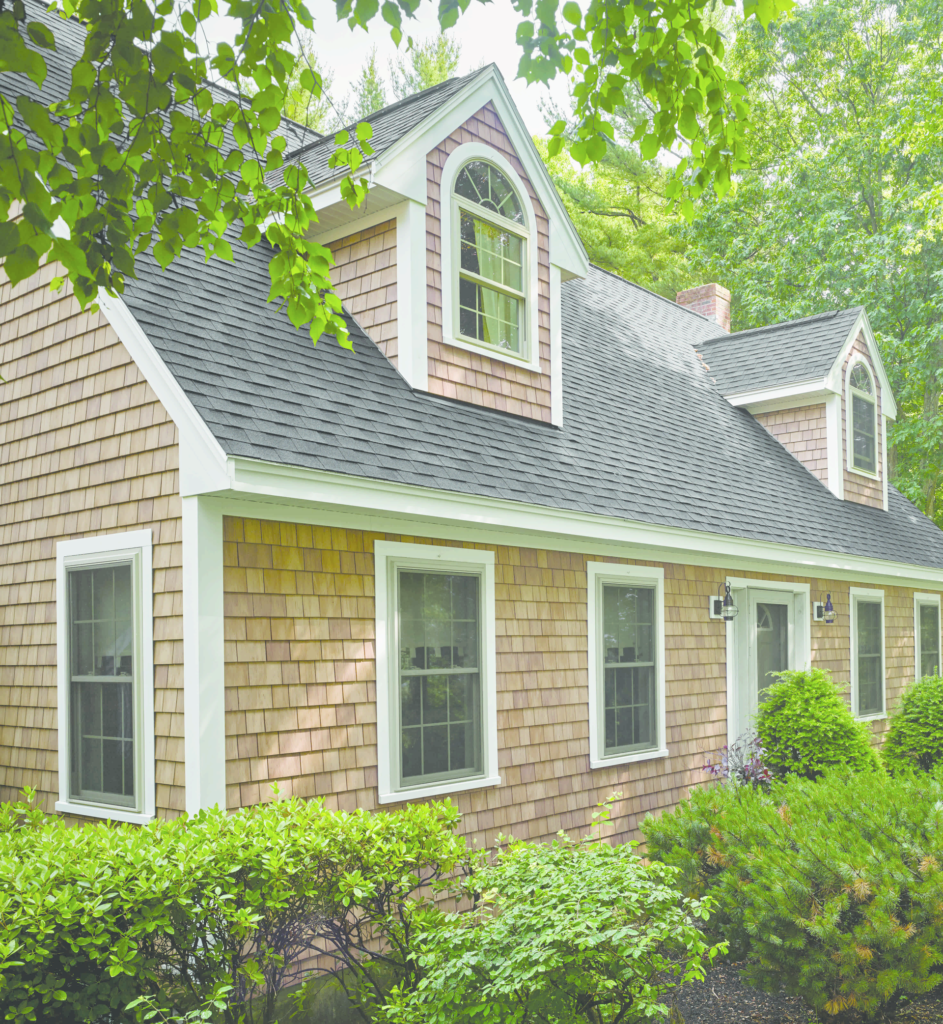 Shingle siding replicates cedar life stages kitchen bath for Shingle style siding