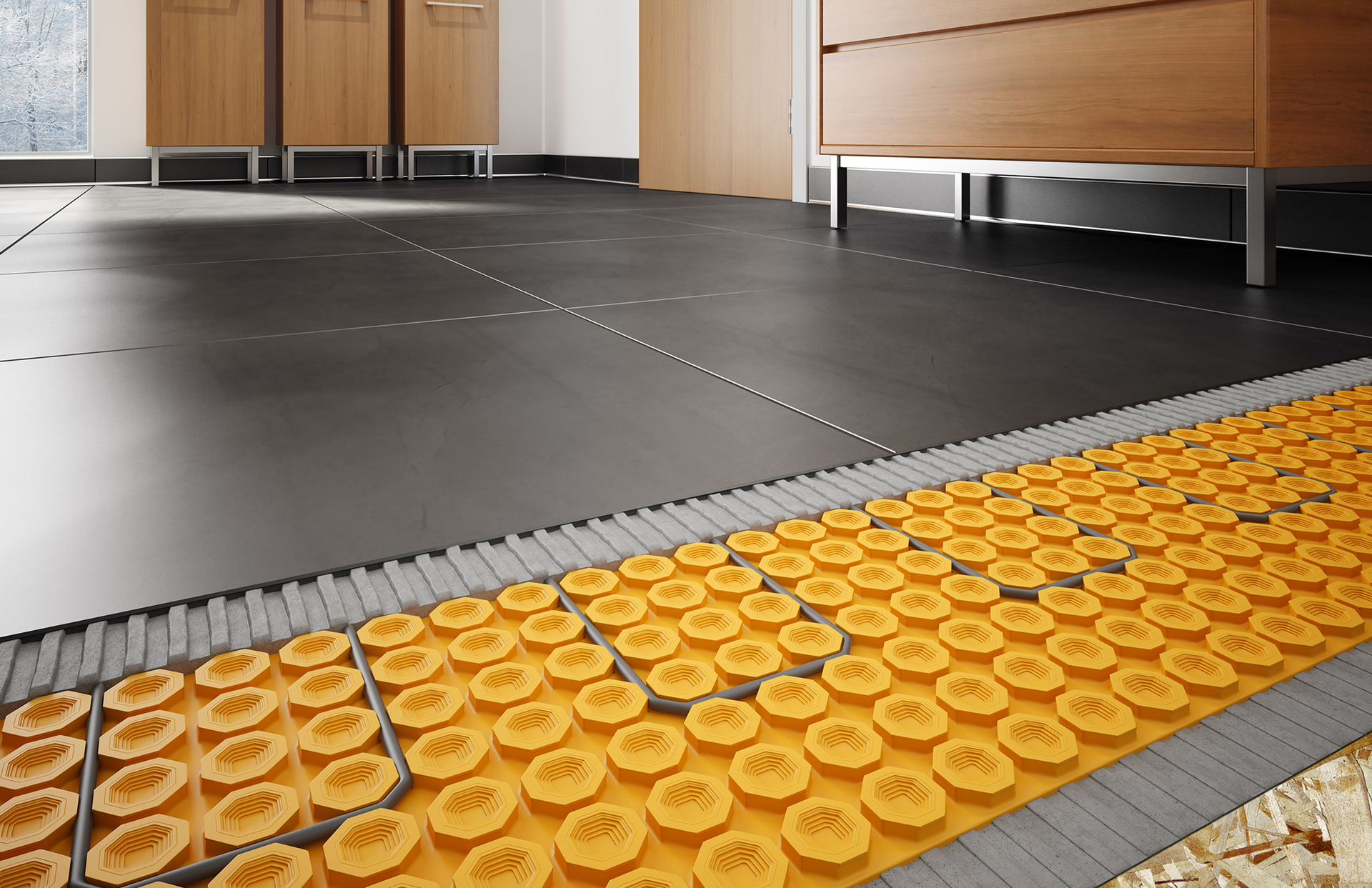 Heated tile flooring