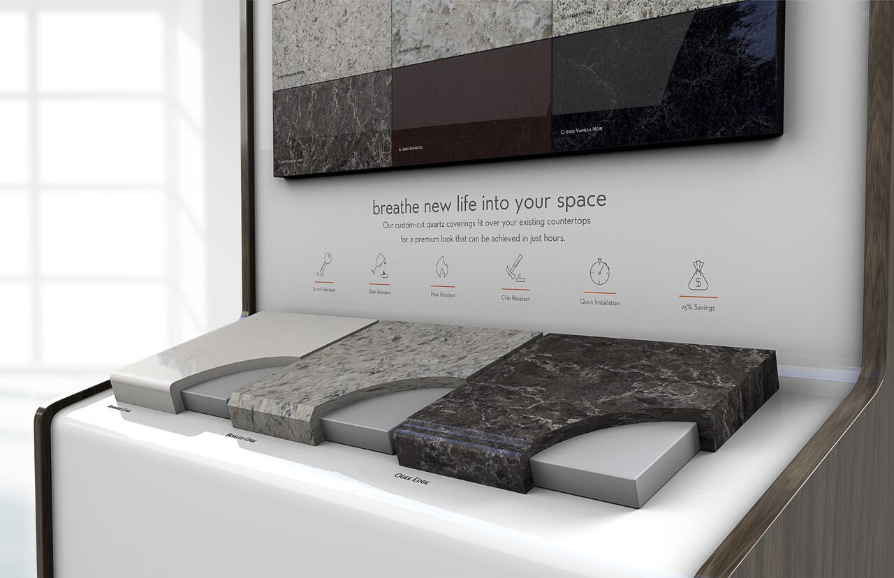 Quartz Surface Fits Over Existing Surfaces For