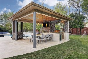 Attrayant U201cThey Wanted It To Be A Contemporary Structure With Grays And Blues,u201d Says  Project Designer Justin Meyers Of Texas Custom Patios.