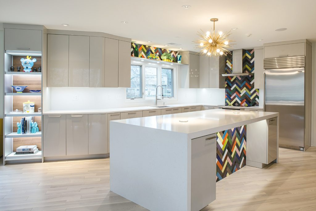 Karen Kassenu0027s Kitchen Design Combines Modern Elements With A Colorful  Twist. This State Of The Art Kitchen Features Integrated LED Lighting,  Pop Up Outlets ...