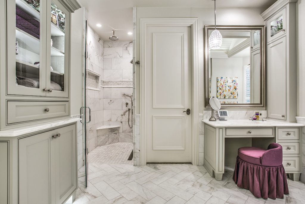 Trudy Voigt Completely Reconfigured This Master Bathroom To Accommodate A Large Shower Sheathed In Natural Stone Barrel Ceiling Leads The Eye Toward