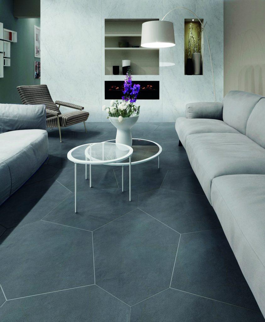 Floor/wall tile combines look of cement, plaster | Remodeling ...
