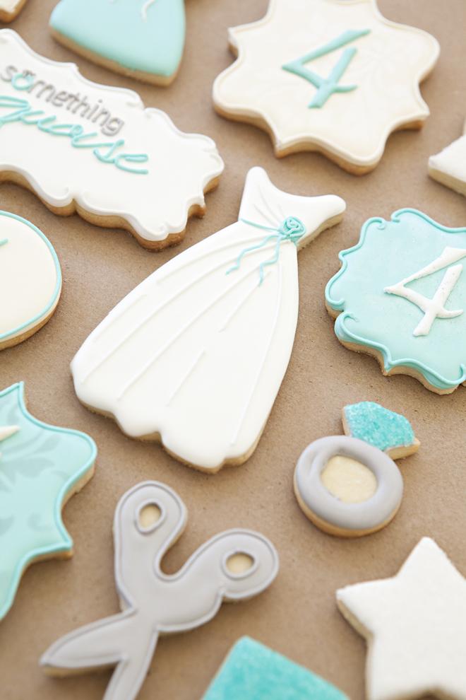 Something Turquoise, custom wedding cookies