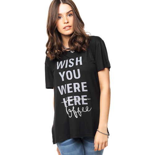 Remera Negra Inedita Whish You Where Inedita