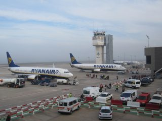 Ryanair aircraft at Girona airport (GRO)