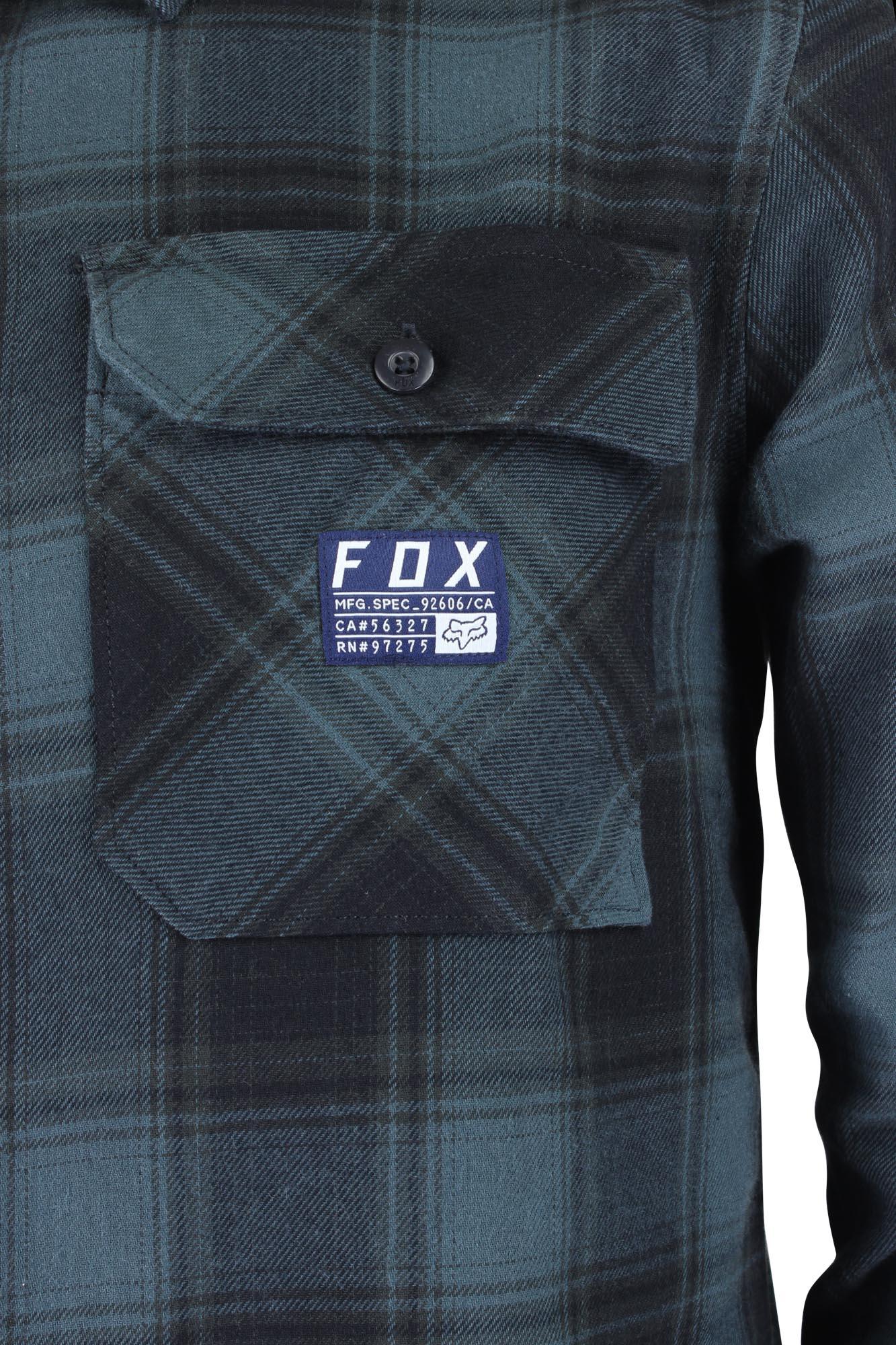 Black//Blue Fox Racing Mens Voyd Flannel Shirt