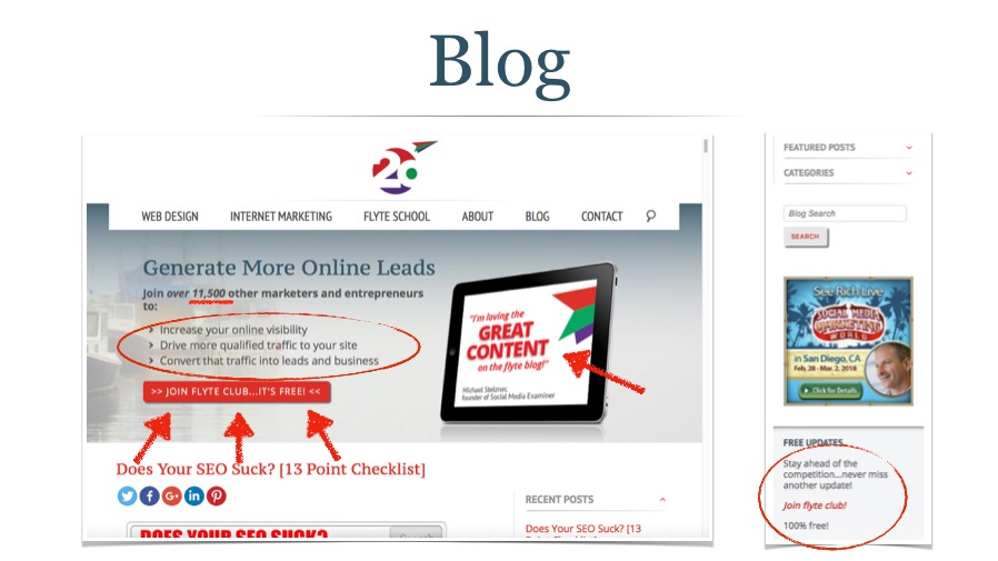 Blog Header and Sidebar for Email Signups