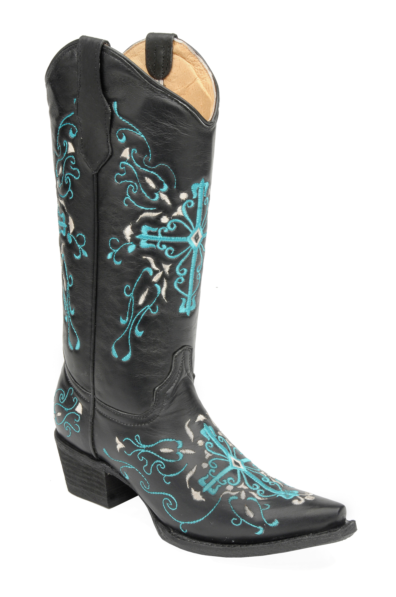 corral boots womens leather circle g cross black turquoise