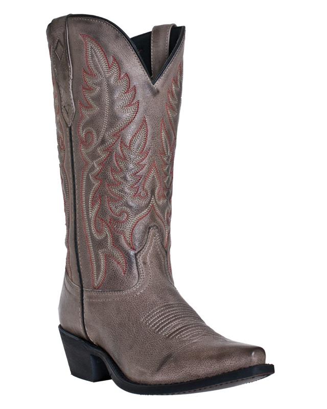 laredo womens gray leather shockalot 12 quot snip toe cowboy
