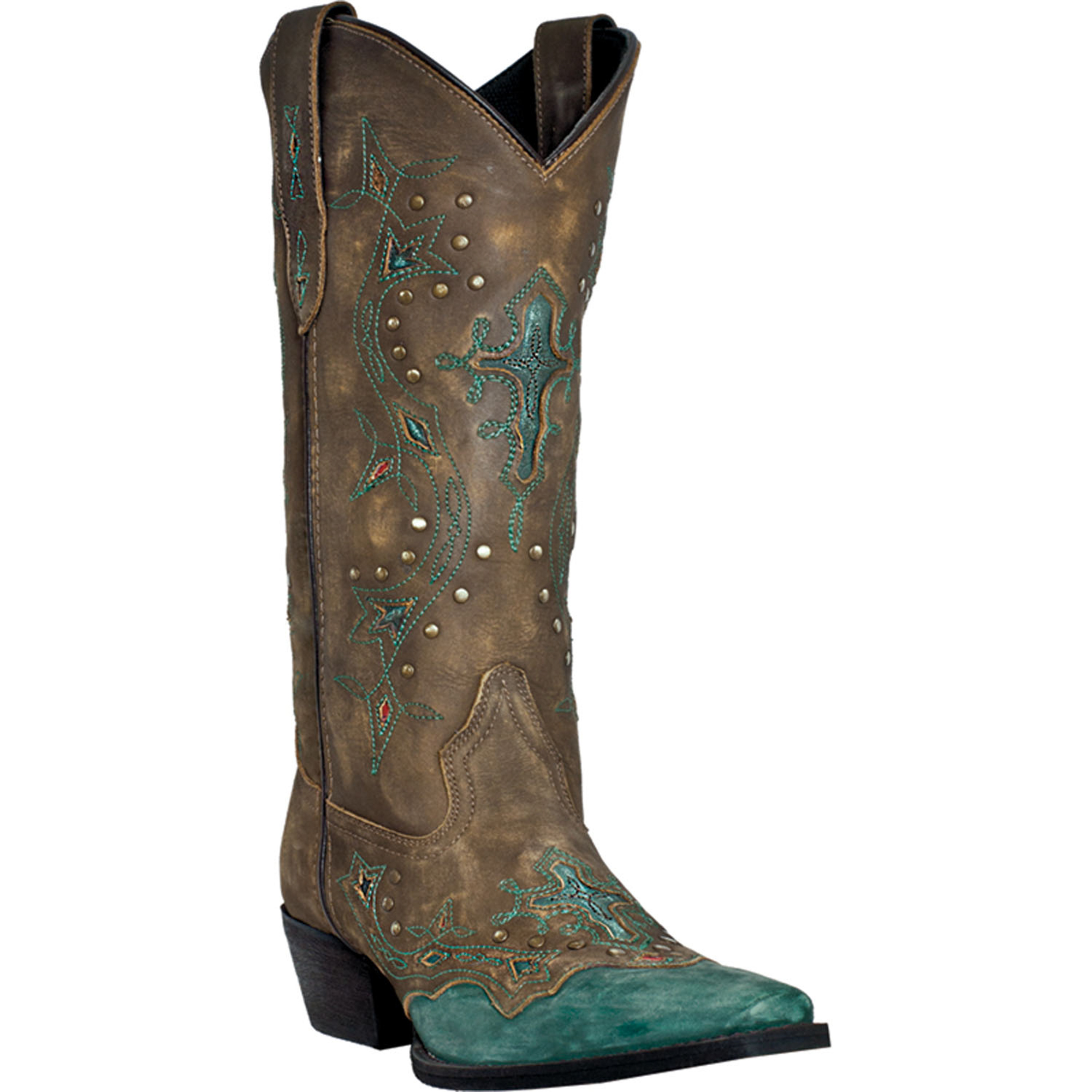 laredo womens brown leather turquoise underlay cross point