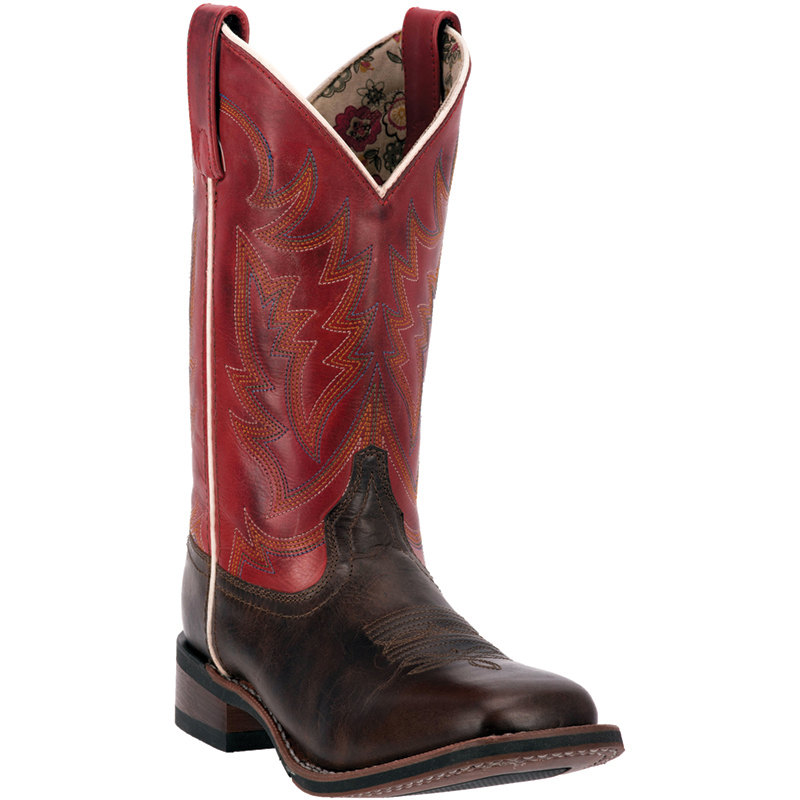 Model Laredo Womens Red 11in R Toe Burnished Leather Cowboy Boots | EBay