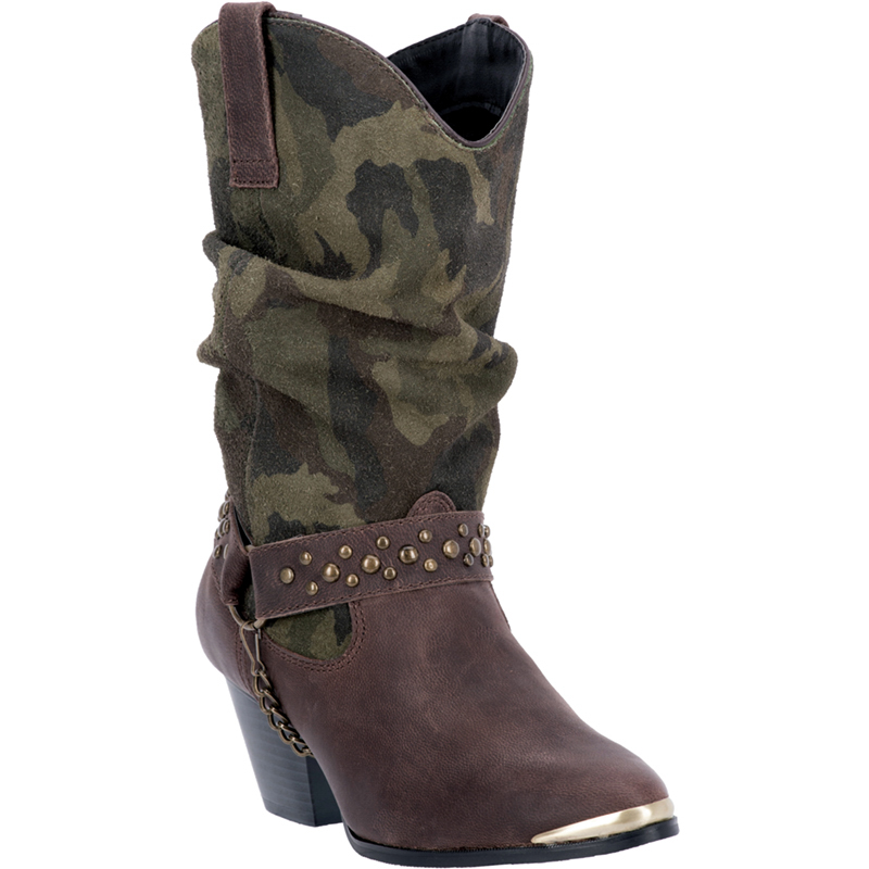 dingo womens brown camo leather cowboy boots 10in