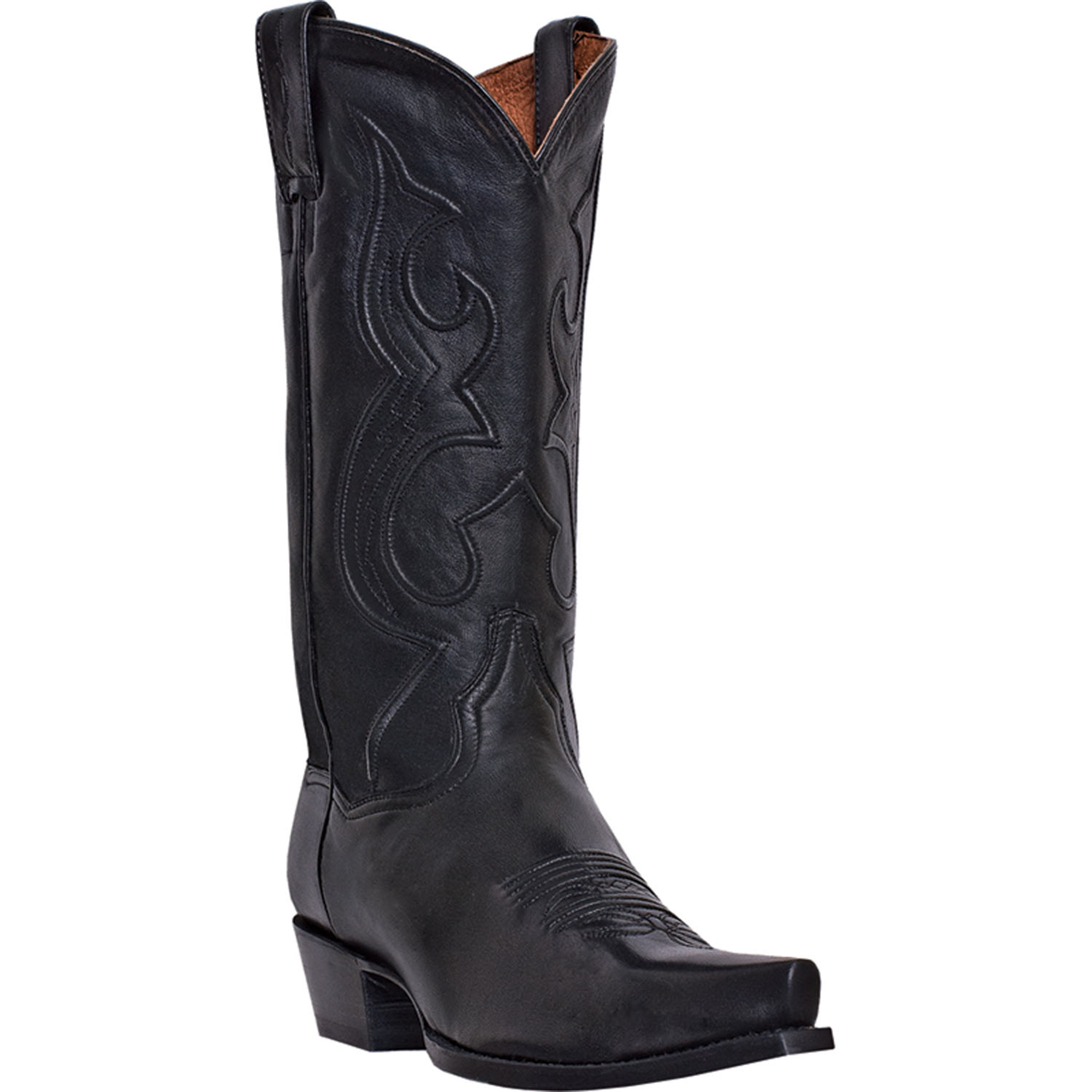 dan post mens black saddle leather bexar snip toe cowboy