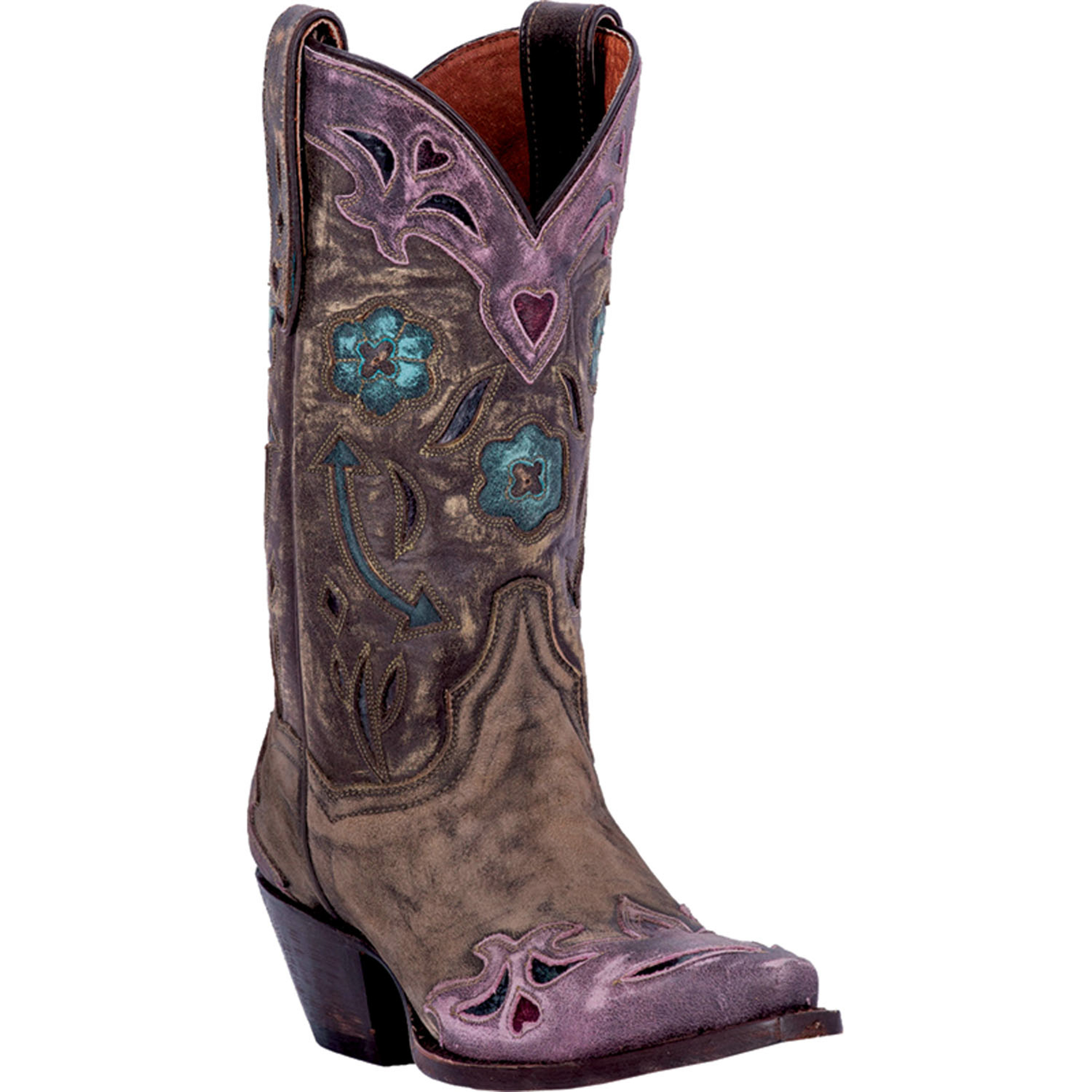 Brilliant A Group Of Dan Post Womens Leather Cowboy Boots The Selection Features A Pair Of Cream Leather Cowboy Boots With White And Gray Embroidery Along The Surface In A Size 75 Also Included Are A Pair Of Black Leather Cowboy Boots With