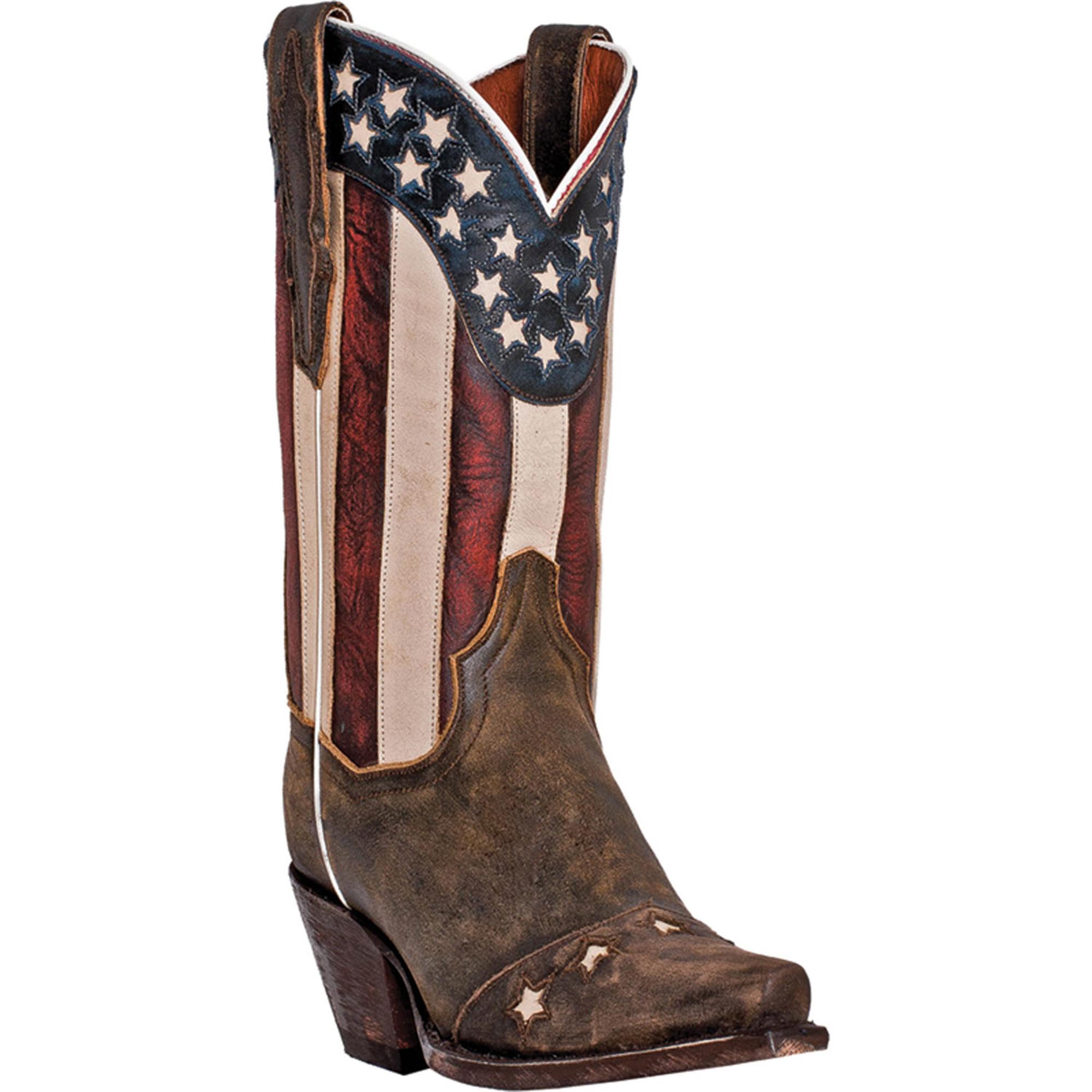 dan post womens brown leather liberty flag patriotic