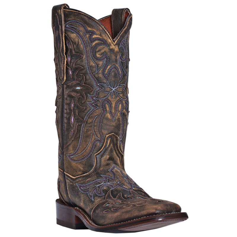 Lastest Dan Post Womens Burgundy Tempted Floral Leather Cowboy Boots Stud
