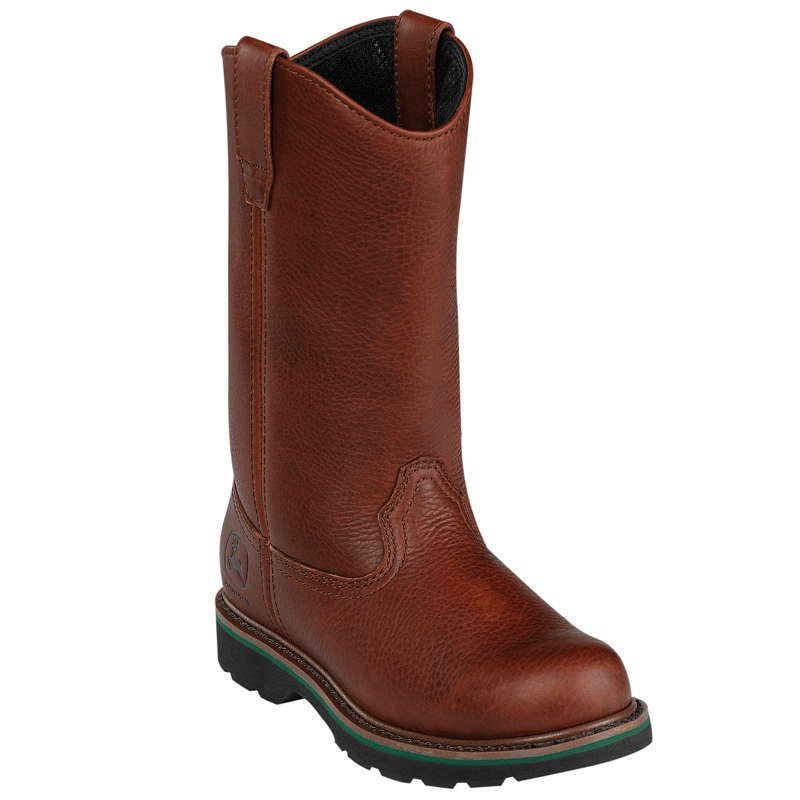 deere womens brown leather 10 pull on steel toe